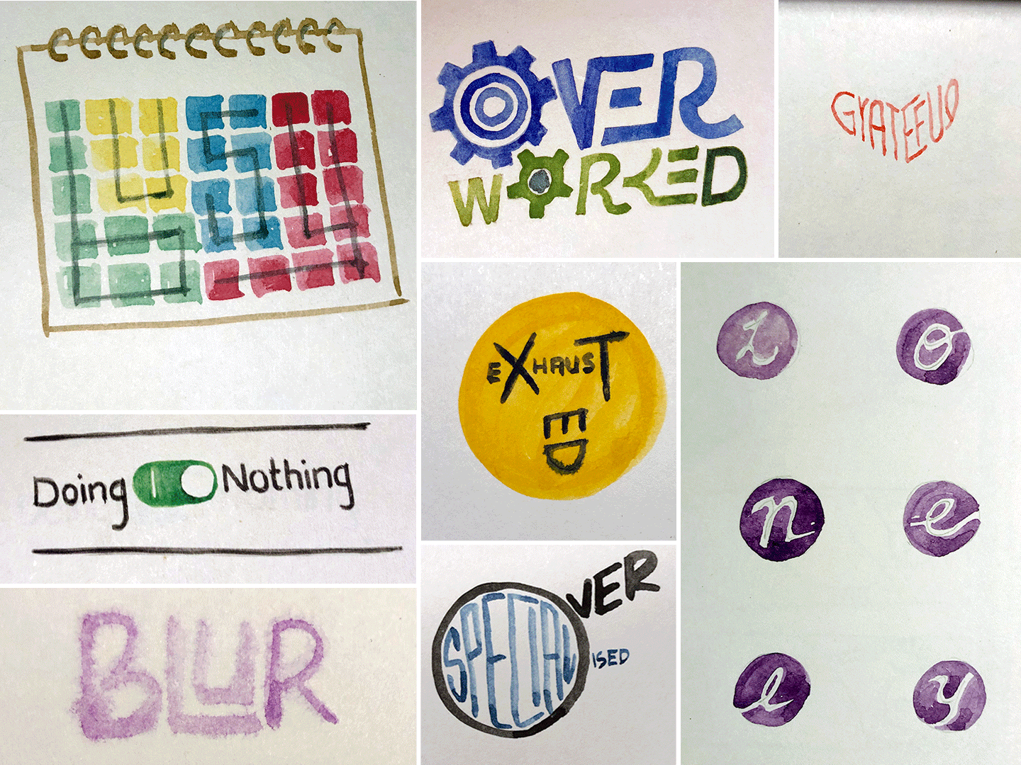 Collage of expressive typography using watercolours. The words expressed are: Busy, Doing Nothing, Blur, Over-worked, Exhausted, Overspecialised, Grateful and Lonely.