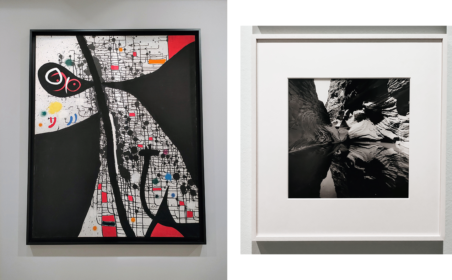 an abstract painting and a black and white photograph