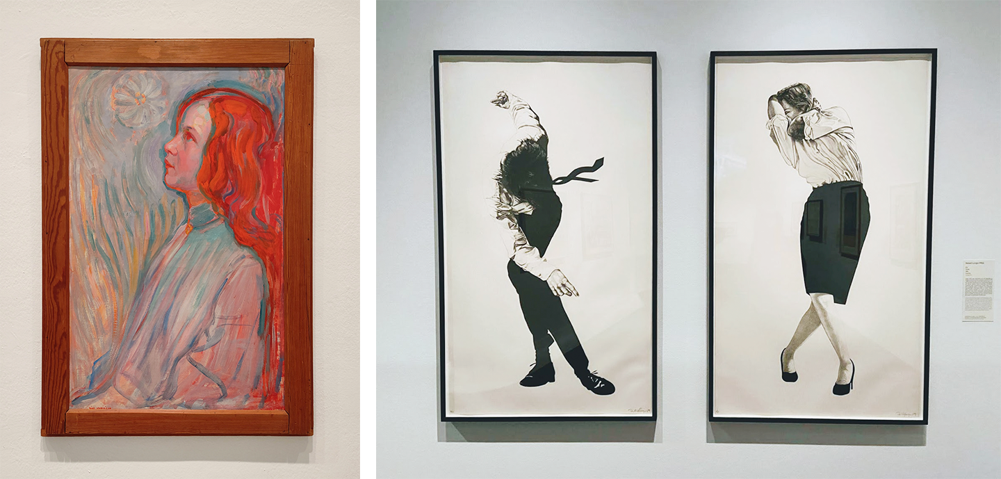 a painting of a woman and two drawings of figures standing in odd poses