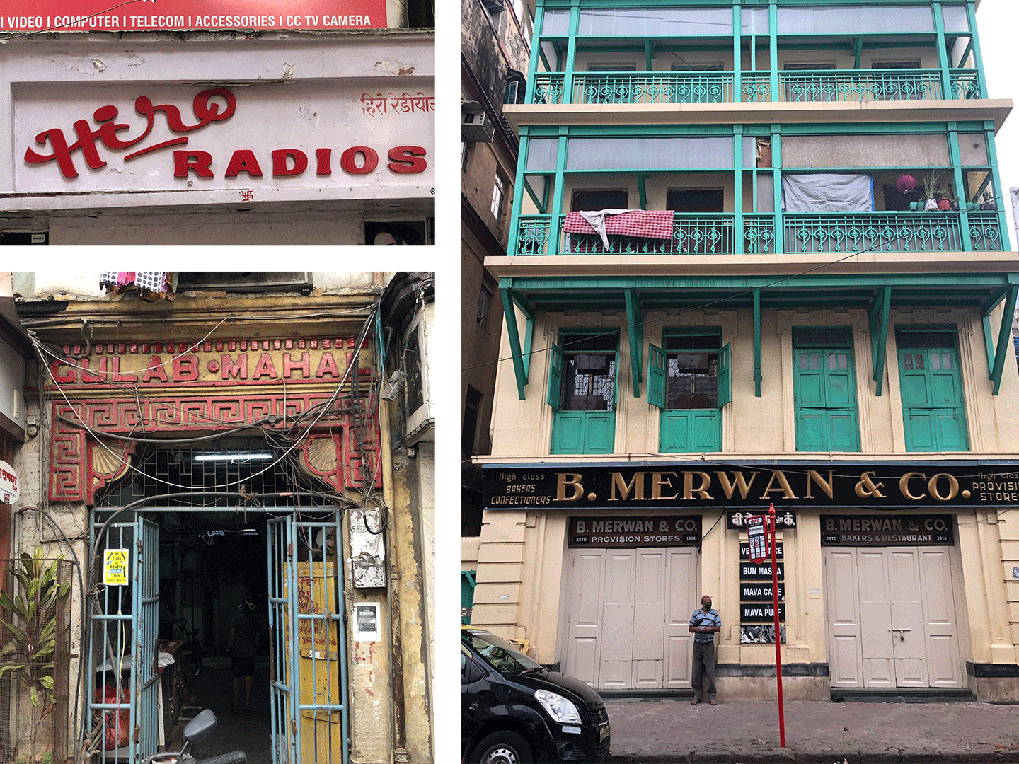 Signages on shops and buildings around Mumbai. Top Left is Hiro radios, below that is Gulab Mahal in red 3D letters on a building entrance and to the right is B. Merwans & Co. a Restaurant