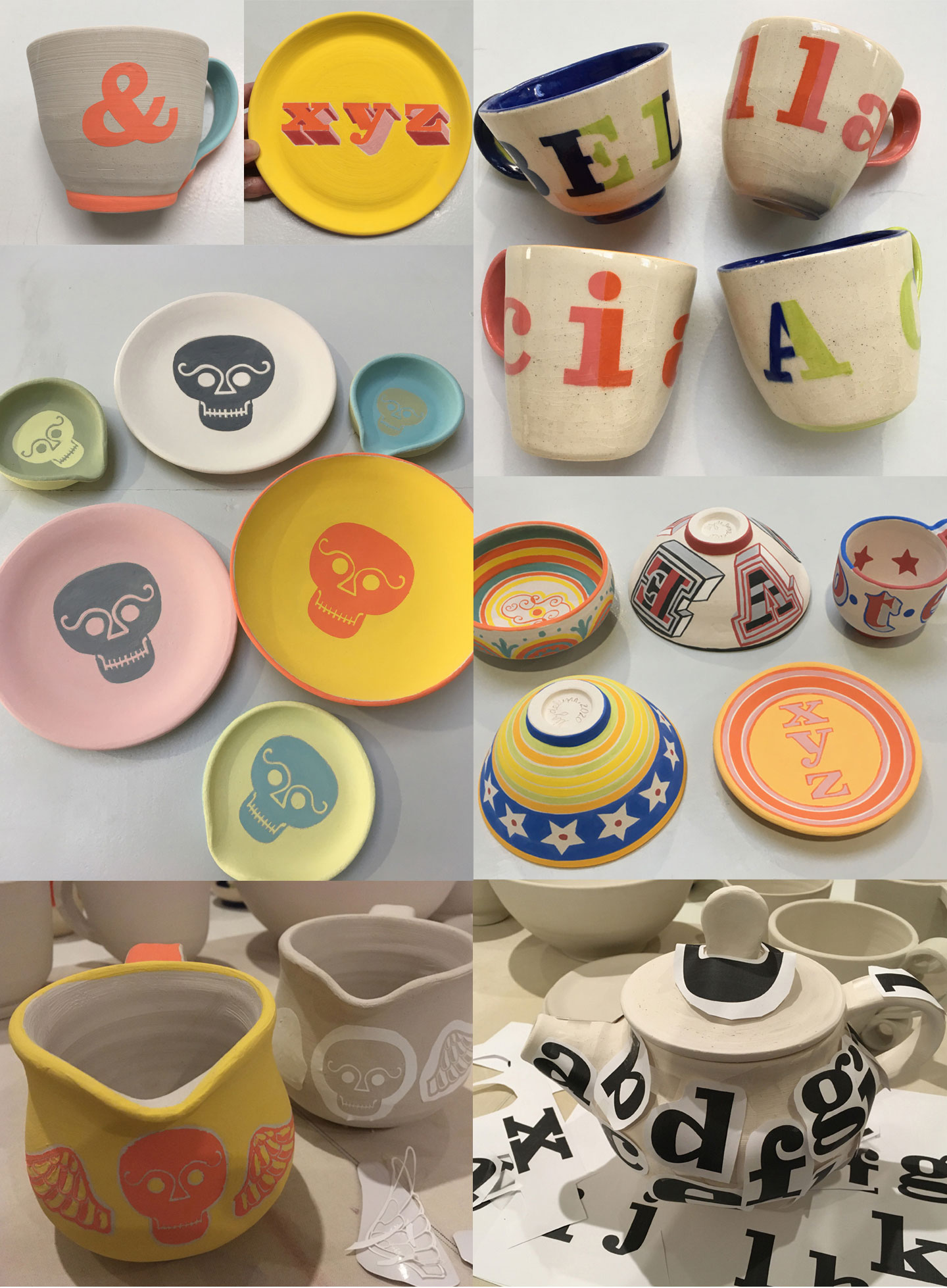 More mugs, bowls, plates, pitchers and a teapot: In process and after final glazing