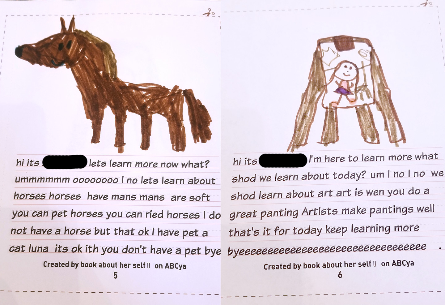 two pages of text written by a child in conversational language; one page is about horses, the other is about artists