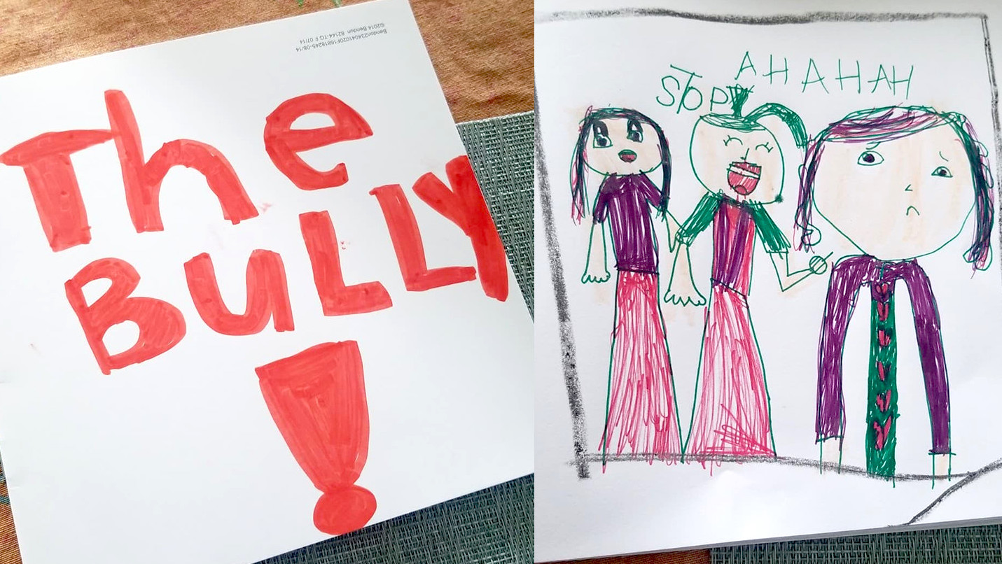 cover drawn by a child and a drawing of three girls